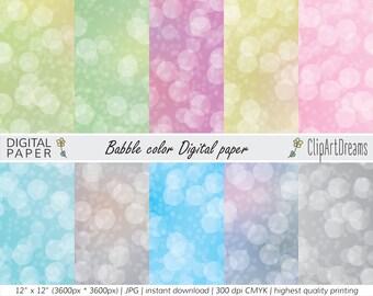 Cute Babble color Digital paper   Instant Download   printable set of 10
