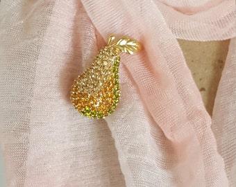 Signed Monet Vintage Pear Rhinestone Brooch - Monet Rhinestone Vintage Jewelry - Vintage Pear Pin with Rhinestones -Vintage Costume Jewelry
