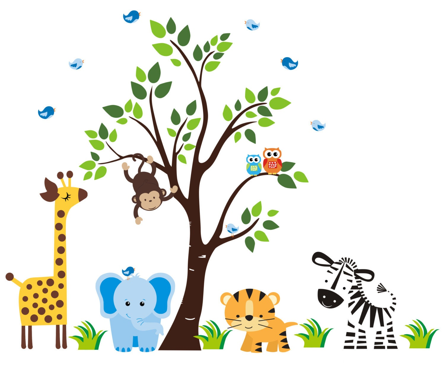 Baby boy room decor stickers - Wall Stickers Nursery Wall Decals Nature Baby Nursery Mural Kids Room Wall Decals Baby Decor Large Jungle Wall 83 X 97