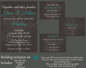 Personalized, printable wedding invitation, save the date, rsvp & thank you card set download