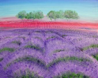 80x100 acrylic painting on canvas lavender landscape