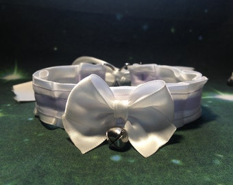 Pleated White and Lilac Collar