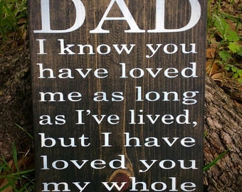 Dad I know you have loved me as long as I've lived but I have loved you my whole life, Gift for Dad, Fathers Day Gift, ready to ship, Wood