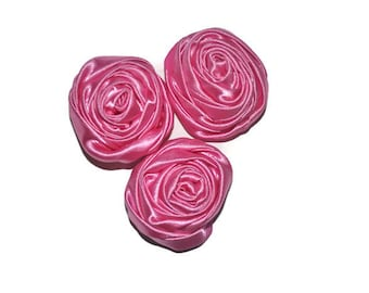 3 Satin Rolled Flowers, Barbie Pink Fabric Roses, Wholesale Flowers, Headband Supplies, DIY Mixed Flowers, Barbie Pink Flower Applique, #6