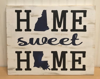 Wooden Home sweet Home sign, wall hanging, home decor, states