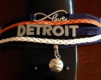 Detroit Tigers Baseball Bracelet