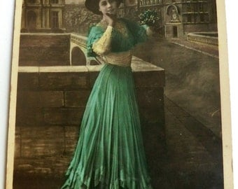 Antique French Photo Postcard Woman Hand Colored Green Hat Skirt ca 1905