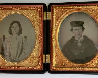 SALE Victorian Daguerreotype Photo Case Tintype Photos Inside Outside Case Grapes Vines Flowers