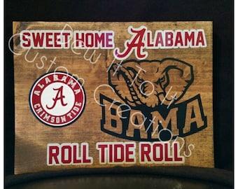 Alabama board sign, Roll Tide, sweet home alabama, crimson tide, alabama roll tide, roll tide roll, football, alabama football
