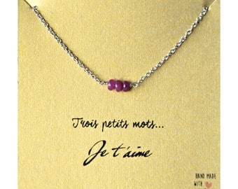 "Necklace of the ""Three small words"" collection with steel and Ruby - customizable gift card"