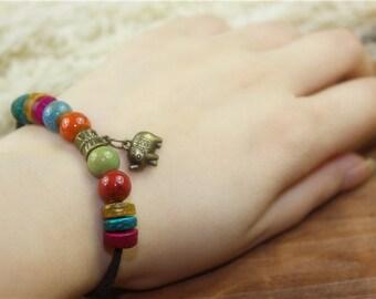 Bracelet, elephant charm bracelet, stone bracelet, leather bracelet, ceramic bracelet, bracelet stone, friedship braclet, OB-10183