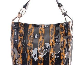 Black/Tan Cheetah Striped Handbag