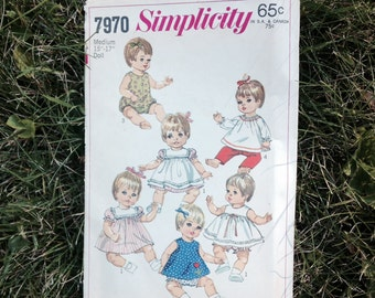 "Vintage Doll Clothing Simplicity #7970 Medium Doll Clothing 1968 Pattern 15"" - 17"""
