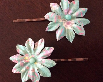 2 Multi Colored Flower Hair Accessory