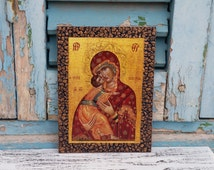 Madonna and Child,Madonna Icon,Virgin Mary,Icon Wall Decor,Religious Present,Easter Gift Idea,Saint Mary Art,St Mary Icon,Byzantine Icon