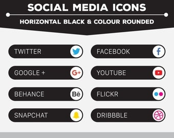 Social Media Icons - Horizontal Round Black/Colour PNG Files for Web, Blog, and Print
