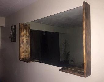Custom Burnt Wood Mirrors