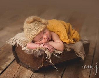 Knit Newborn Sleep Cap, Mustard Yellow