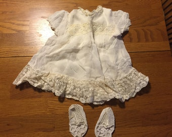 Vintage baby girl baptism dress and crocheted booties
