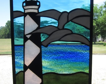 """11""""x17"""" Cape Lookout Lighthouse stained glass suncatcher, tan beach,blue/green ocean,lighthouse and seagulls, copper foil method"""