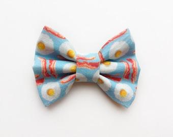 MINI Eggs and Bacon Bow, baby girl, girl toddler, baby gift, baby headband, baby hair clip, headband, hair bow