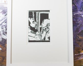 Father and Daughter Art Linocut Block Print