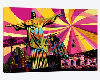 Gallery Style Canvas Print Vibrant Colorful Rio Psychedelic Pop - De Janeiro Brazil Christ the Redeemer Wall Decor Beautiful Framed Artwork