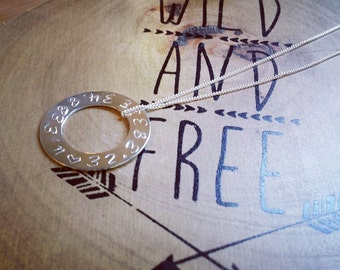 Personalised Sterling Silver flat round washer on a Sterling Silver chain