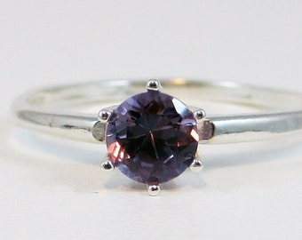 Alexandrite Solitaire Ring, 925 Sterling Silver, June Birthstone Ring, Purple Alexandrite Ring, Color Change Alexandrite Ring