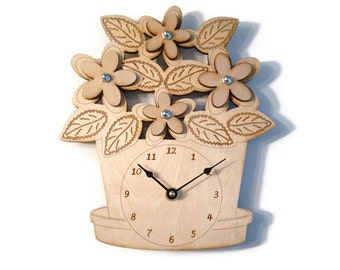 Wood Laser Cut Engraved Etched Flower Pot Wall Clock - You pick the flower color - Child Nursery Garden Decor