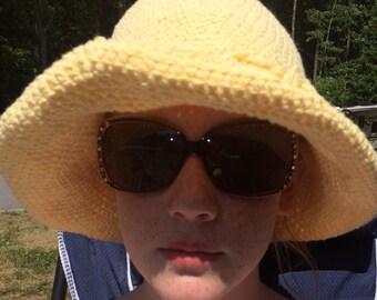 women sun hat, yellow sunhat, women crochet hat, floppy brim hat, women beach hat, cotton summer hat, lightweight knit hat, women yellow hat