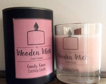 Candy Cane Handmade Wooden Wick Crackling Candle 200ml | Soy Blend | Presentation Gift Box | Luxury Scented