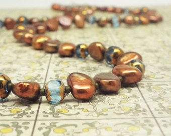 Long pearl necklace bronze copper pearls - St. Paul's - freshwater pearl, cathedral blue glass beads opera length necklace antique brass