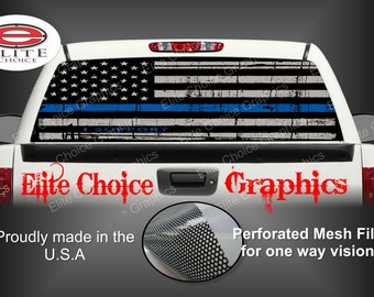 Police Thin Blue Line Police Flag Rear Window Graphic Tint Decal Sticker Truck SUV Van Car