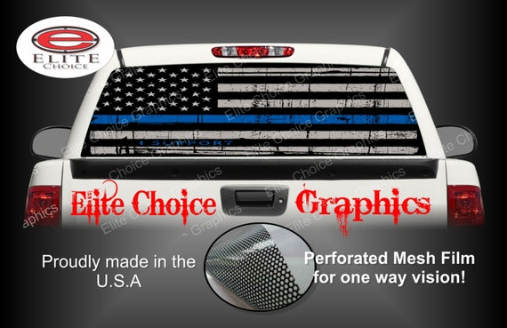 Police Thin Blue Line Police Flag Rear Window Graphic Tint - Truck back window decals