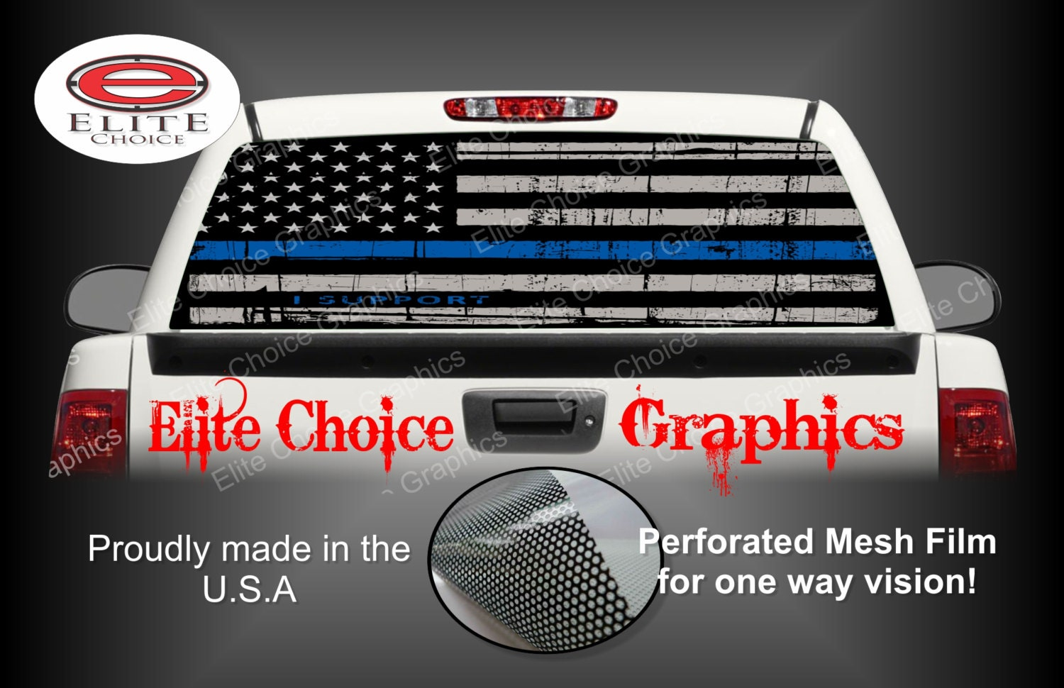 Thin Blue Line Police Flag Rear Window Graphic Tint Decal