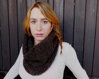 Neck scarf women chocolate wool fleece