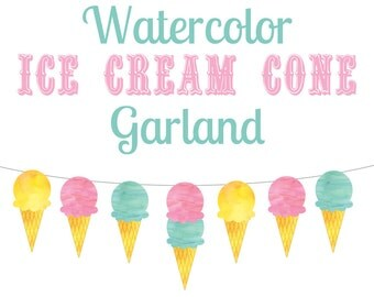 Ice Cream Cone Bunting Garland Party Decor, Printable Ice Cream Shoppe Party Decoration, Ice Cream Social INSTANT DOWNLOAD