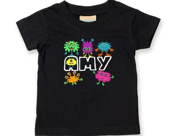 Personalised Girls little Monster Tee