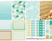Ocean breeze weekly planner stickers - full box, half box, tab flag, happy planner, erin condren, matte, glossy, mini kit weekly