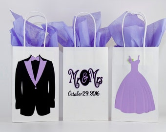 Wedding Gift Bags-Bridesmaids Gift Bags-Groomsmen Gifts Bags-Wedding Party Favors- Bridesmaid-Bridal Party Gift Bag-Set Of 12 or Mix & Match