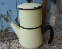 Vintage Rustic French Yellow Enamel Coffee Pot and/or Enamel Teapot, with Black Bakelite Handle, Knob and Rims. Shabby Chic Coffee Pot.