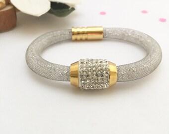 Silver Bracelet, Stardust Bracelet, Sparkling Silver Magnetic Clasp Bracelet, Stardust bracelet Swarovski inspired