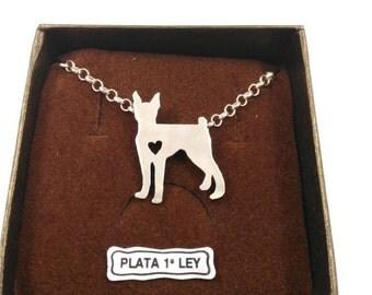 Hanging dog Pincher. 925 sterling silver