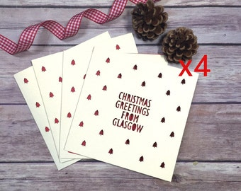 Personalised Location Christmas Card Pack, Custom Christmas Cards, Christmas Hometown Card, Christmas Card Multipack, Lasercut Card, Xmas