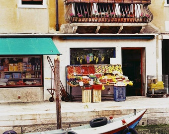 Gothic Windows, Fruit Market, Venice Italy, Boat In Canal, Balcony With Flowers, Weathered Gold Building, Wall Decor