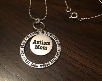 Faith Love Trust Autism Mom necklace