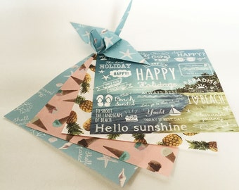 Origami Paper Sheets - I Love Beach Pattern - 48 sheets