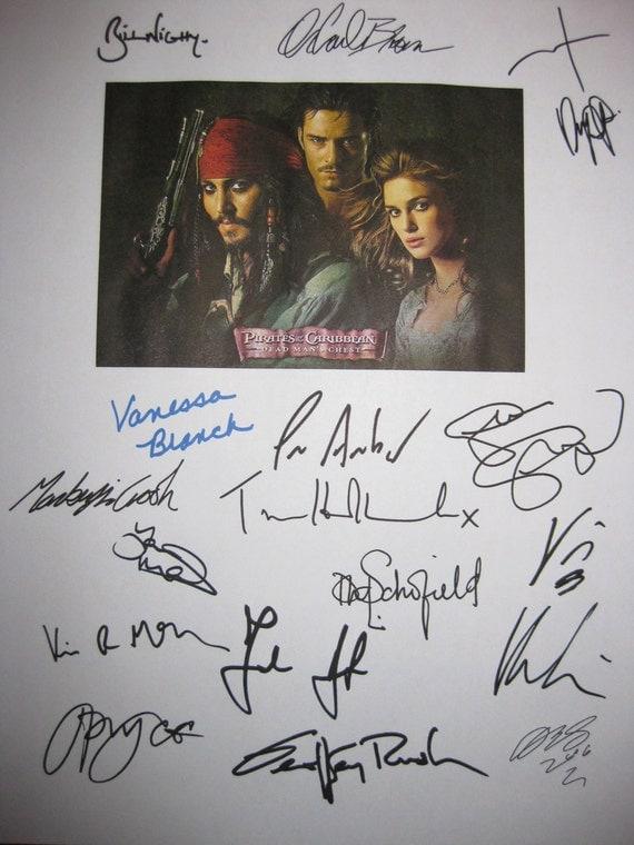Pirates of the Caribbean 2 Signed Film Movie Screenplay Script Autographs X17 Johnny Depp Keira Knightley Orlando Bloom Geoffrey Rush Nighy