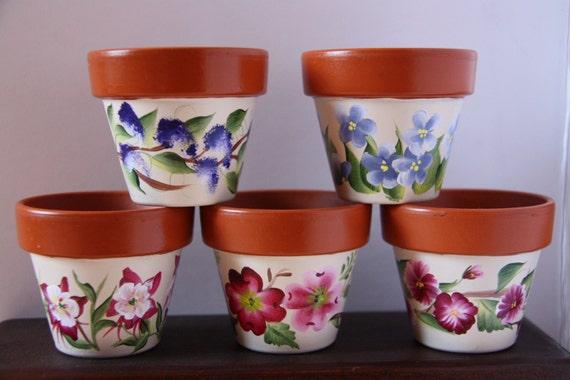 Mini Flower Pots Mini Pots Hand Painted Flower Pots Flower